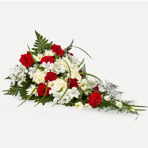 Classic funeral spray - red and white