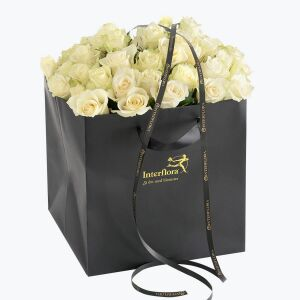 40 White Roses in a giftbag